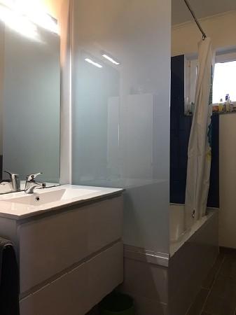 Paroi de douche et miroir de salle de bain.
